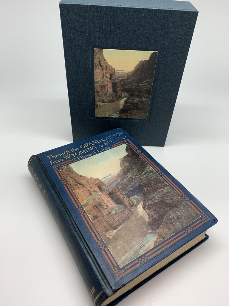 Kolb, Ellsworth L. Through the Grand Canyon: From Wyoming to Mexico. New York: The Macmillan Company, 1920. Original Decorative Boards. Housed in protective archival slipcase.  Offered is Ellsworth Kolb's adventurous book, Through the Grand Canyon: