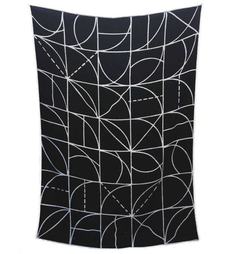 100% Peruvian Alpaca fleece Measures: 50 x 70 inches Handwoven Limited edition Dry clean only Custom gift box  Based on LeWitt's Lines and Arcs (Wall Drawing #260) this very soft and cozy 100% Alpaca throw features a sophisticated palette in
