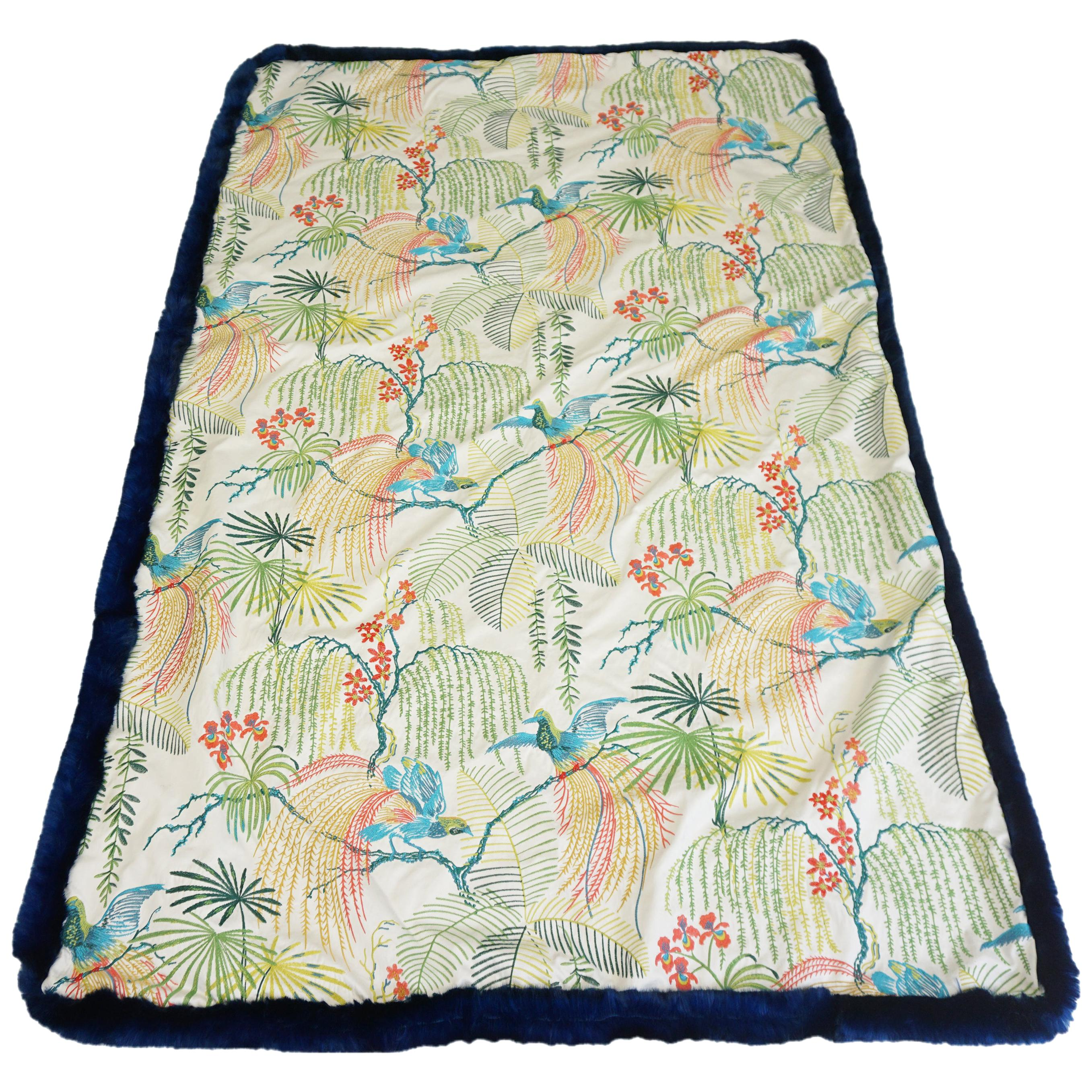 Throw Blanket with Rainforest Embroidery