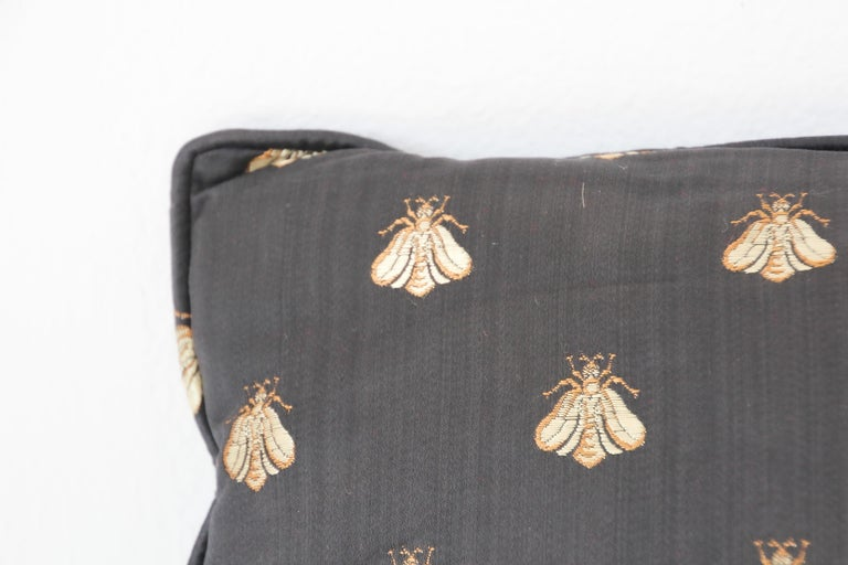 Moorish Throw Decorative Black and Gold Silk Accent Pillow For Sale