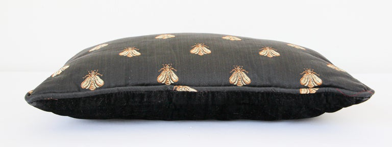 Throw Decorative Black and Gold Silk Accent Pillow For Sale 1