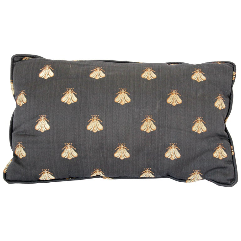 Throw Decorative Black and Gold Silk Accent Pillow For Sale