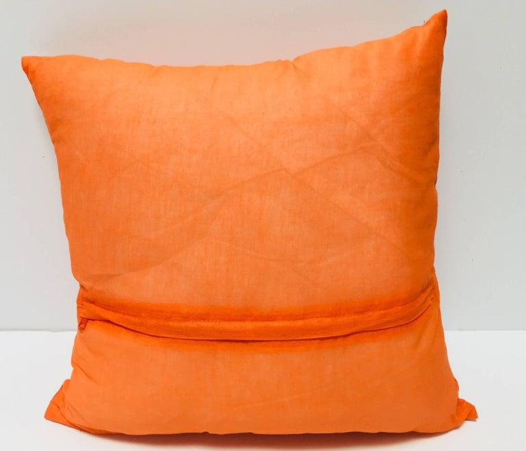 Throw Decorative Orange Accent Pillow Embellished with Sequins and Beads For Sale 2