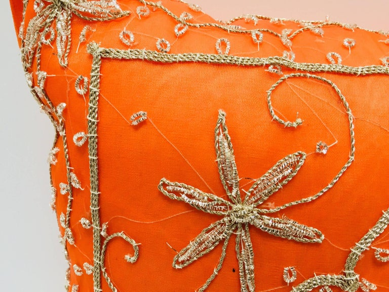 Beaded Throw Decorative Orange Accent Pillow Embellished with Sequins and Beads For Sale