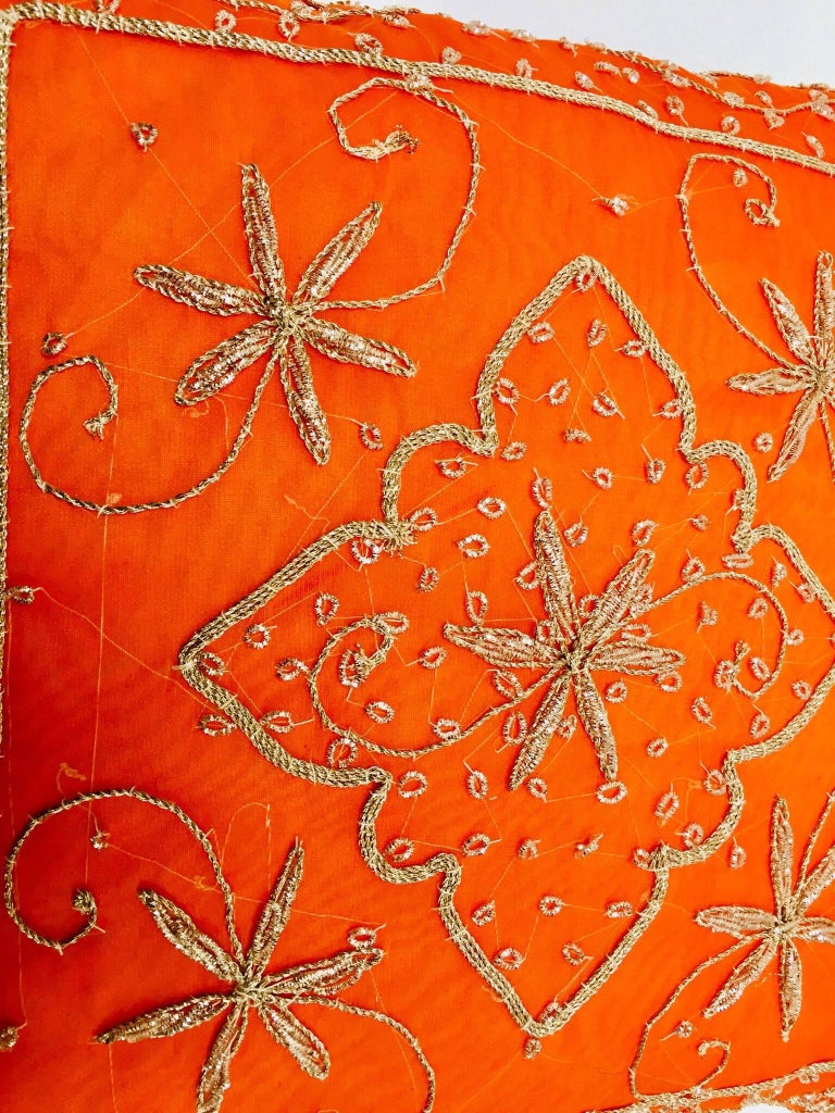 Fabric Throw Decorative Orange Accent Pillow Embellished with Sequins and Beads For Sale