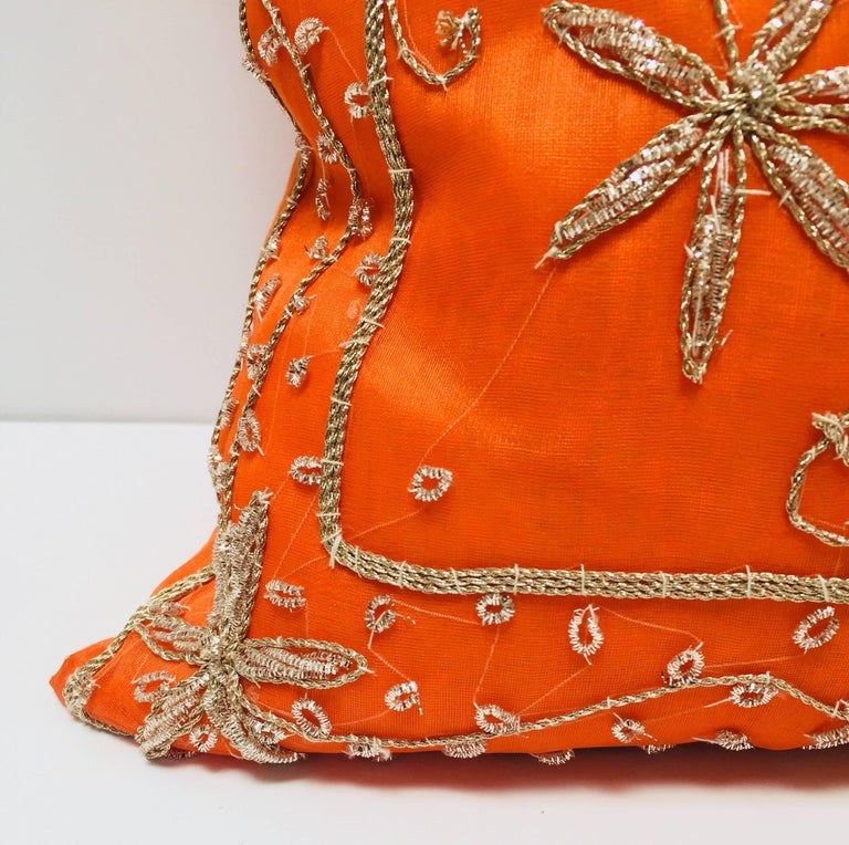 Throw Decorative Orange Accent Pillow Embellished with Sequins and Beads For Sale 1