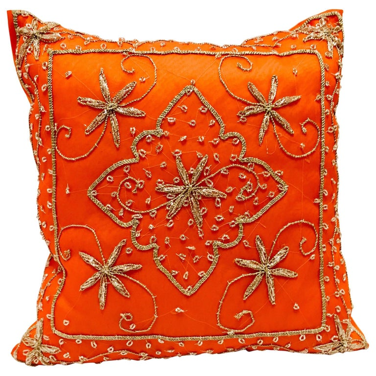 Throw Decorative Orange Accent Pillow Embellished with Sequins and Beads For Sale