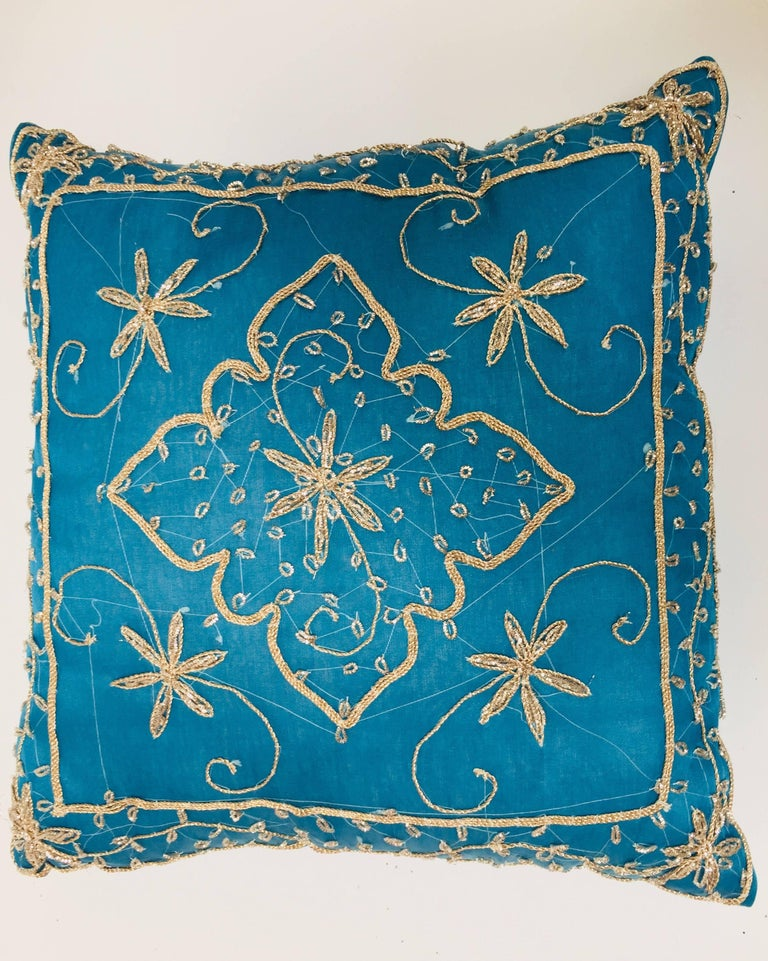 Throw Decorative Turquoise Accent Pillow Embellished With