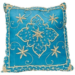 Throw Decorative Turquoise Moorish Pillow Embellished with Sequins and Beads