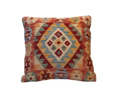 Throw Pillow Cover, Kilim Decorative Pillow, Bench Cushion Cover Rose Cut