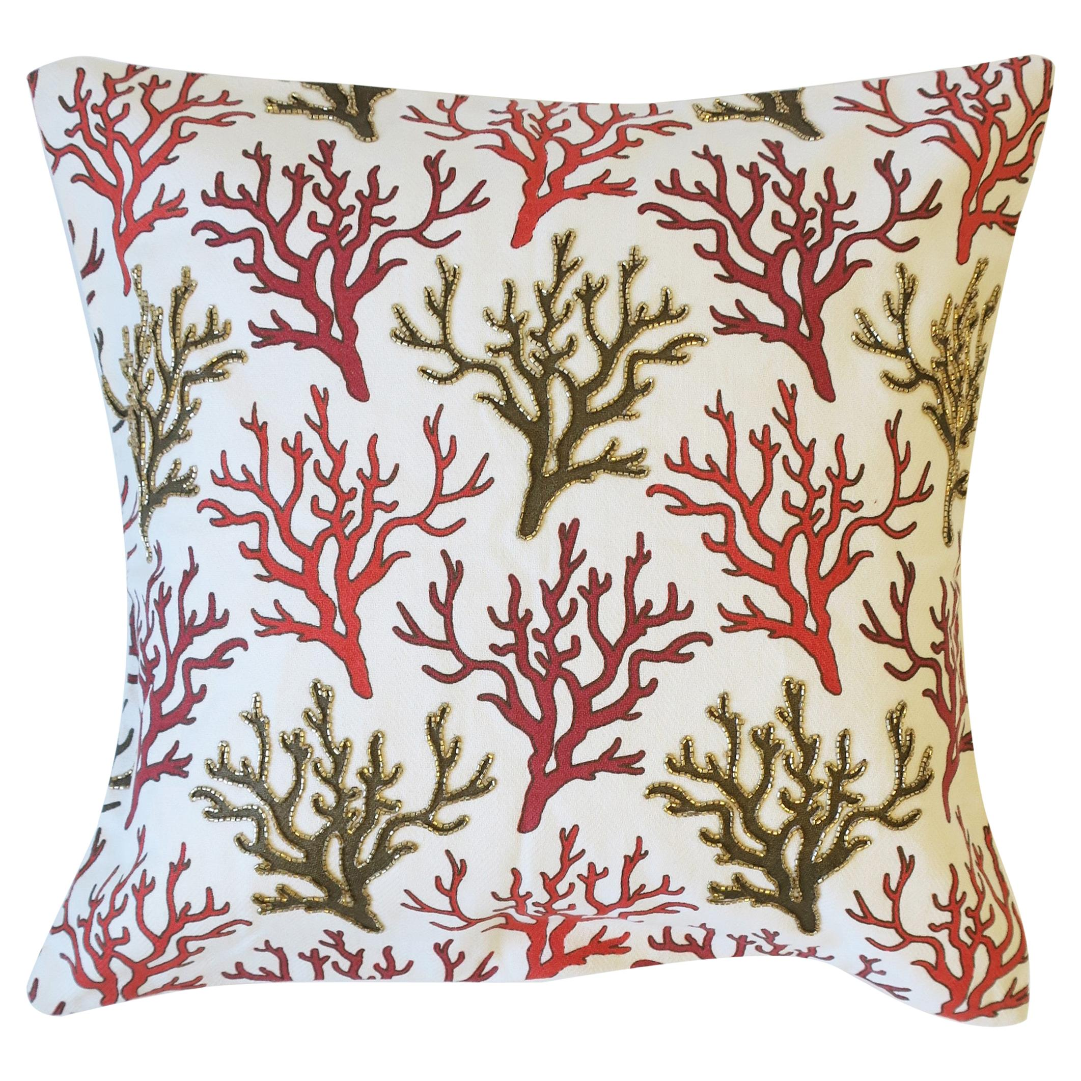 Throw Pillow with Red Sea Coral Design