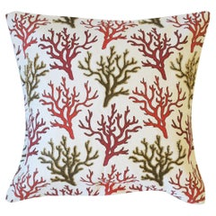 Throw Pillow with Red Coral Design