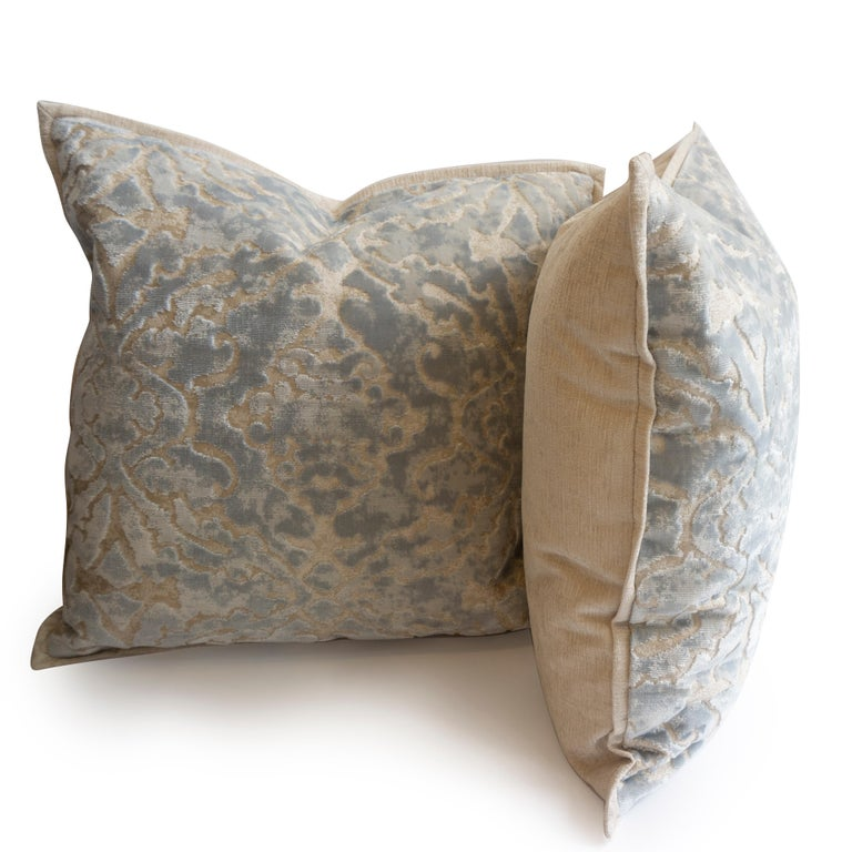 American Throw Pillows in Cut Velvet Damask Pattern For Sale