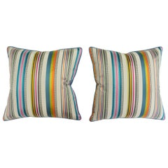 Throw Pillows with Colorful Satin Stripes