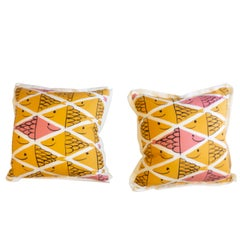 Throw Pillows with Smiling School of Fish Pattern