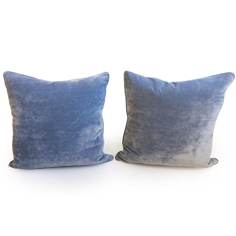 American Throw Pillows with Striped Linen and Blue Velvet For Sale