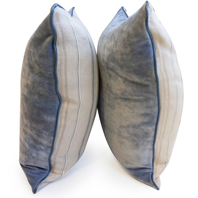 Hand-Crafted Throw Pillows with Striped Linen and Blue Velvet For Sale