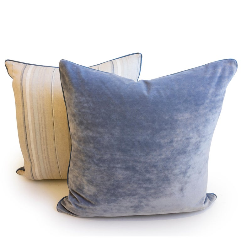 Throw Pillows with Striped Linen and Blue Velvet In Excellent Condition For Sale In Westport, CT