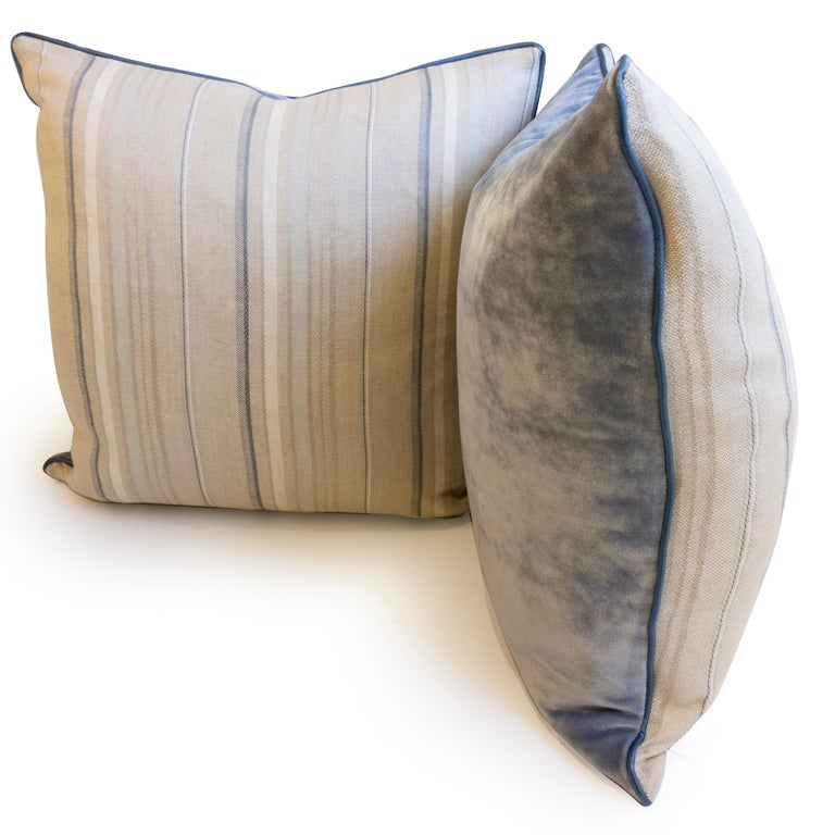 Contemporary Throw Pillows with Striped Linen and Blue Velvet For Sale
