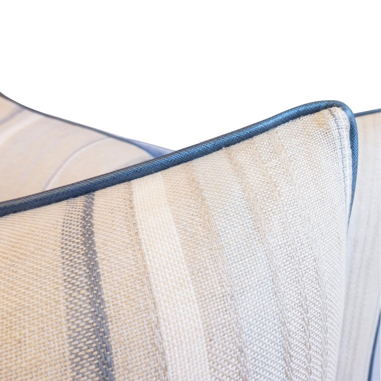 Throw Pillows with Striped Linen and Blue Velvet For Sale 1