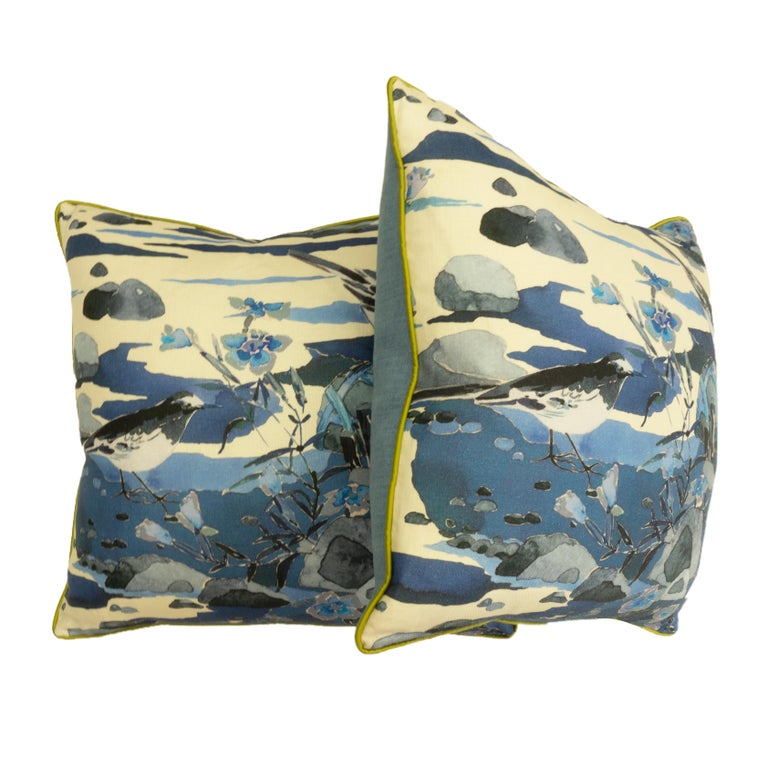 American Throw Pillows with Watercolor Nature Print For Sale