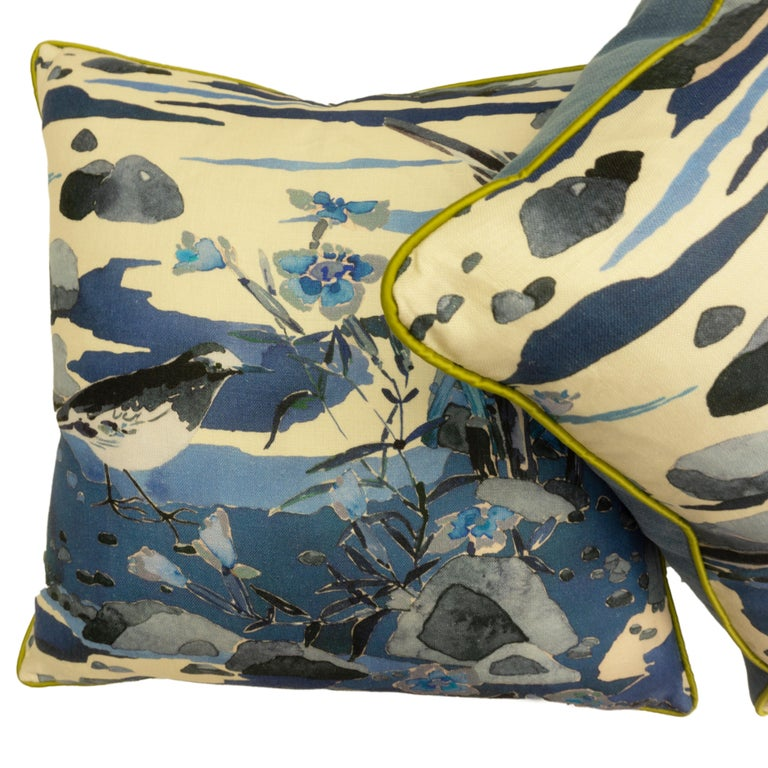 Contemporary Throw Pillows with Watercolor Nature Print For Sale