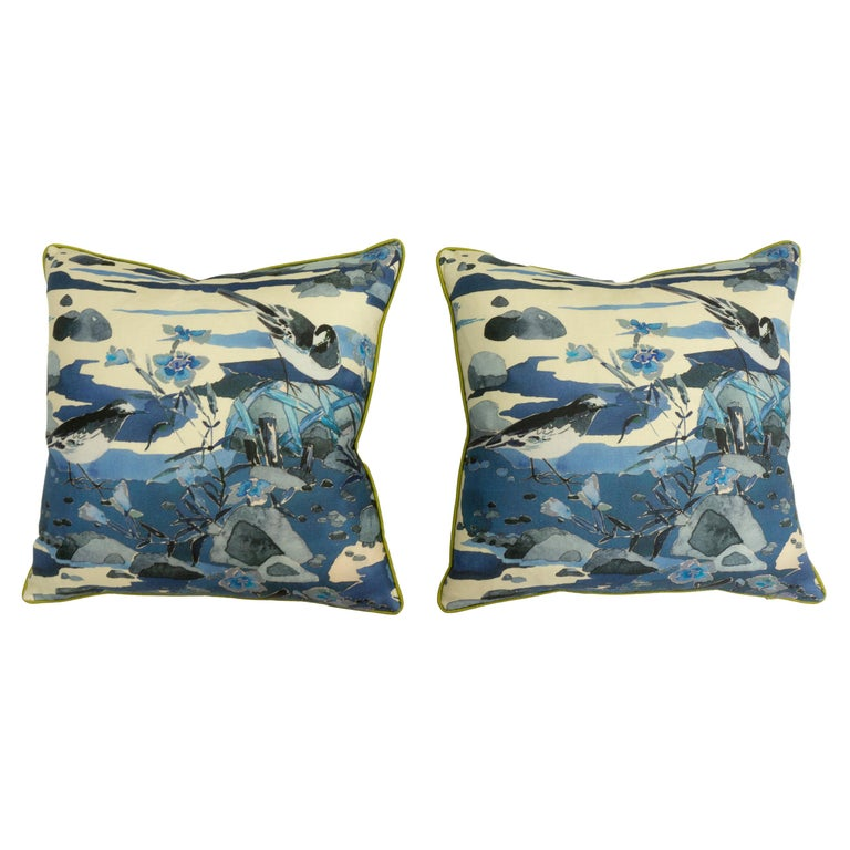 Throw Pillows with Watercolor Nature Print For Sale