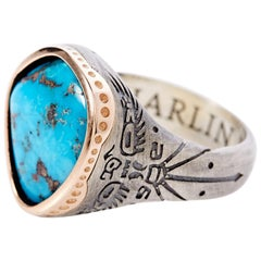 Thunderbird Rose Gold or Sterling Silver Morenci Turquoise Ring by Harlin Jones