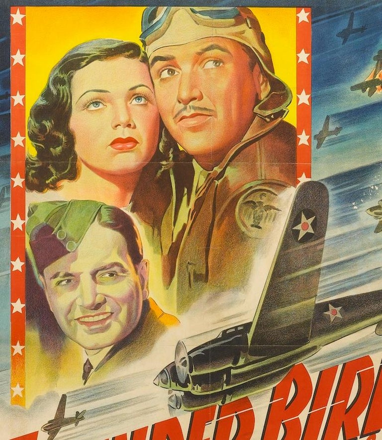 This is highly colorful original movie poster for the 1942 film Thunder Birds. A 20th century Fox Picture, the film was famous due to its stunning aerial photography and for filming on location at a Thunderbird Field, Arizona in 1942 during the