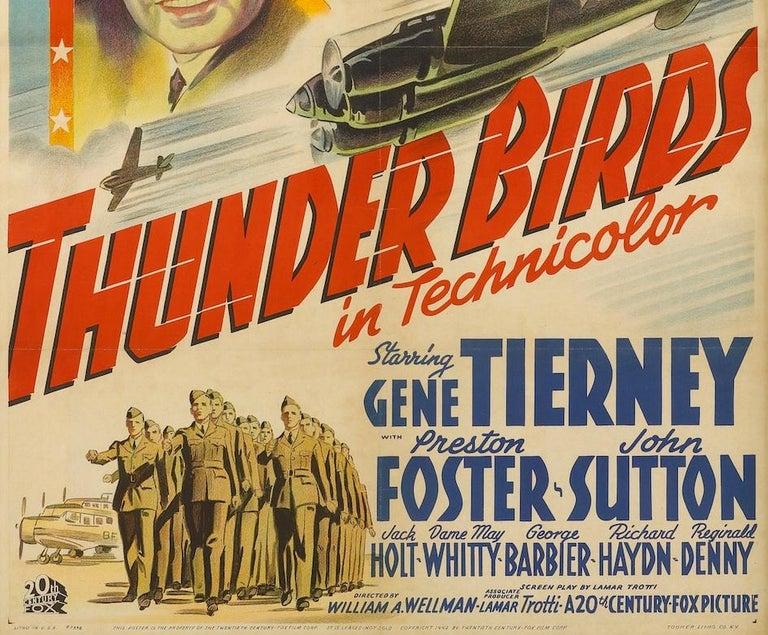 American Thunderbirds World War II Vintage Aviation Movie Poster, circa 1942 For Sale