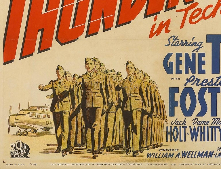 Thunderbirds World War II Vintage Aviation Movie Poster, circa 1942 In Good Condition For Sale In Colorado Springs, CO