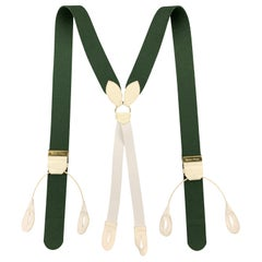 THURSTON LONDON Solid Green Wool Suspenders