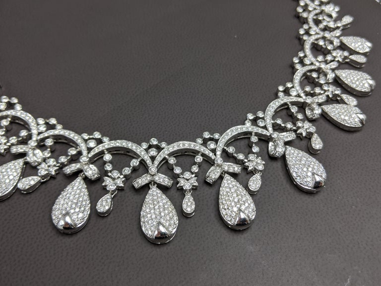 26K Diamonds Elegant Necklace Tiara Style  Hand Made, One Of A Kind!