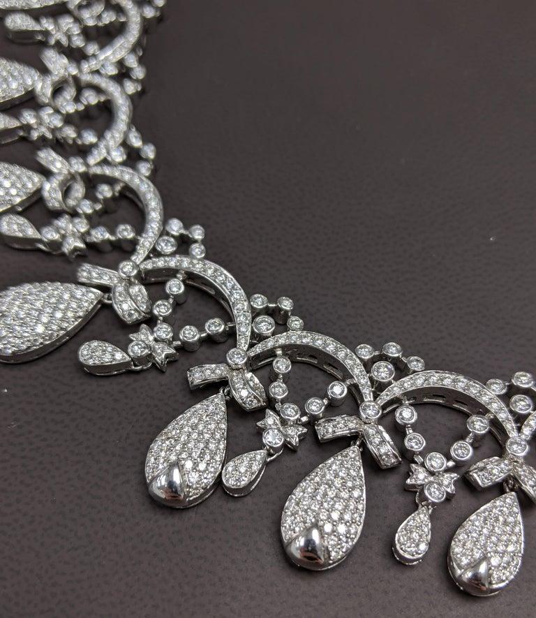 Artisan Tiara Crown Diamond Necklace For Sale