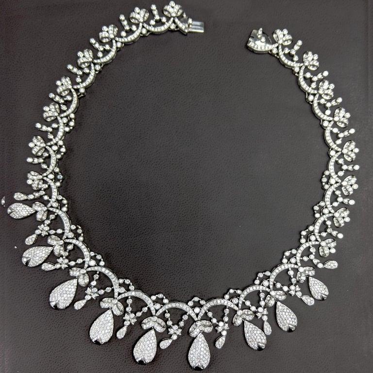 Round Cut Tiara Crown Diamond Necklace For Sale