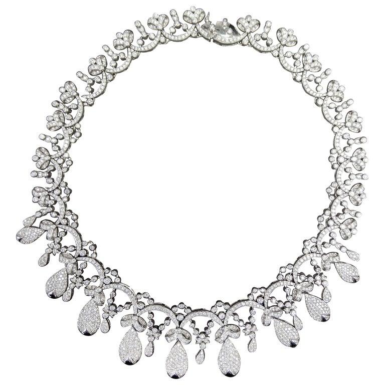 Tiara Crown Diamond Necklace For Sale