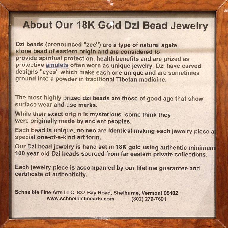 Agate Tibet Antique Protection Six Eye Dzi Bead 18-Karat Gold Amulet  For Sale