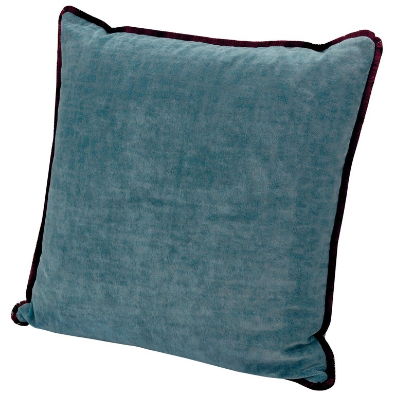 For Sale: Blue (1T4CU00719-74) Tibet Small Crushed Velvet Cushion with Fringe by MissoniHome