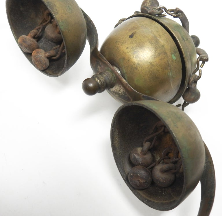 Tibetan Bronze and Brass Temple Meditation Bells on Wood Stand, 19th Century For Sale 6