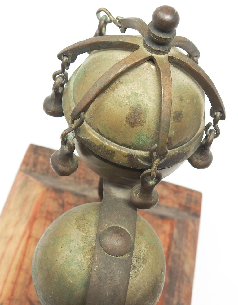 Tibetan Bronze and Brass Temple Meditation Bells on Wood Stand, 19th Century For Sale 10