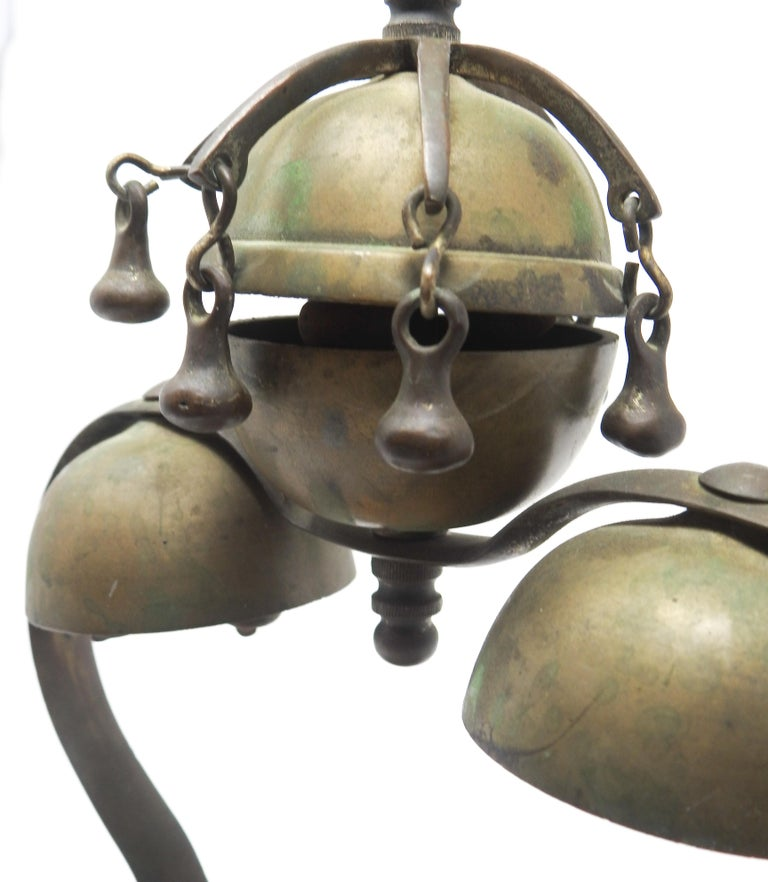 Tibetan Bronze and Brass Temple Meditation Bells on Wood Stand, 19th Century For Sale 12