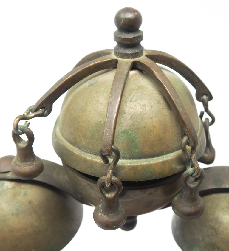 Tibetan Bronze and Brass Temple Meditation Bells on Wood Stand, 19th Century For Sale 13