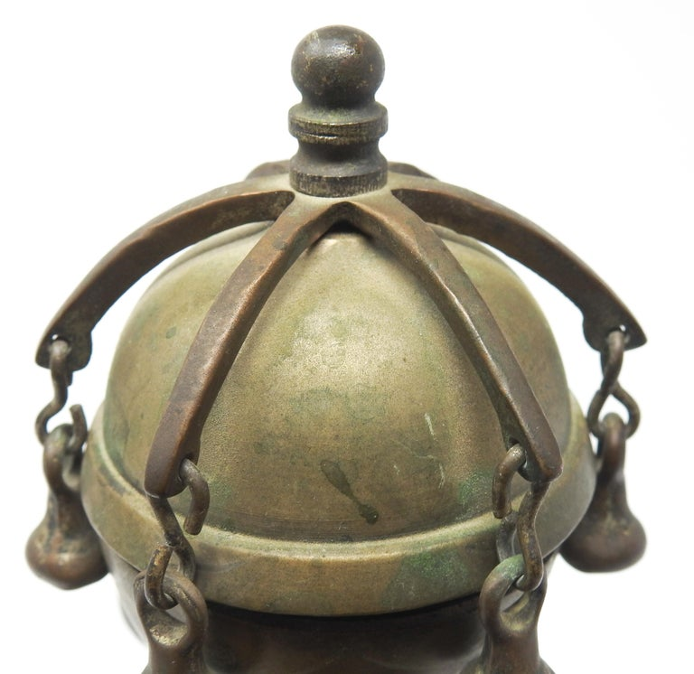 Tibetan Bronze and Brass Temple Meditation Bells on Wood Stand, 19th Century For Sale 16