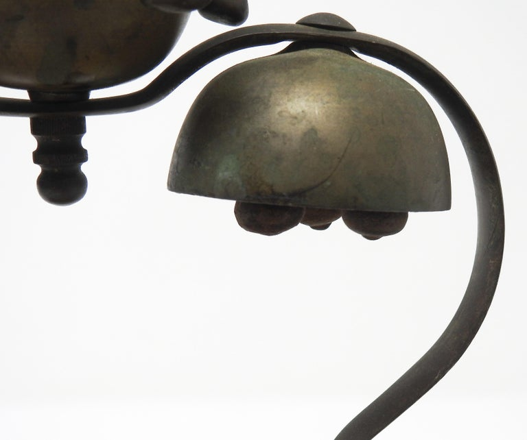 Metalwork Tibetan Bronze and Brass Temple Meditation Bells on Wood Stand, 19th Century For Sale