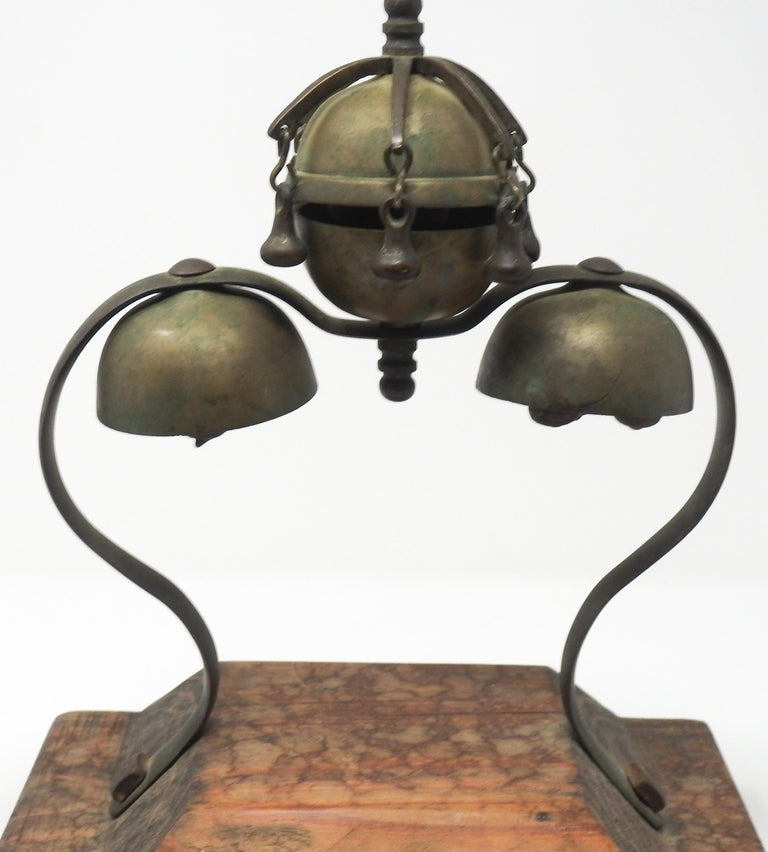 Tibetan Bronze and Brass Temple Meditation Bells on Wood Stand, 19th Century For Sale 1