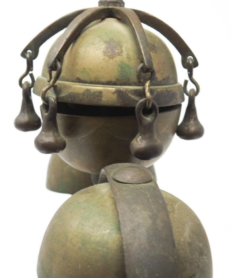 Tibetan Bronze and Brass Temple Meditation Bells on Wood Stand, 19th Century For Sale 2