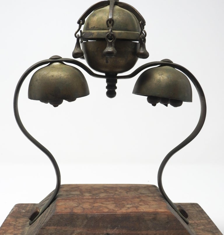 Tibetan Bronze and Brass Temple Meditation Bells on Wood Stand, 19th Century For Sale 4