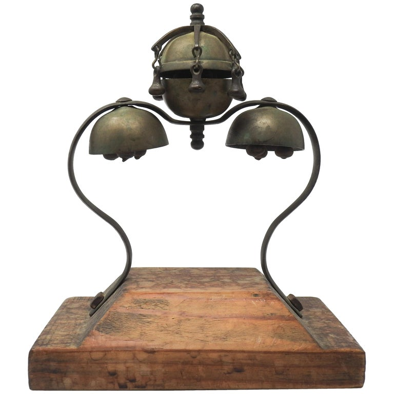 Tibetan Bronze and Brass Temple Meditation Bells on Wood Stand, 19th Century For Sale
