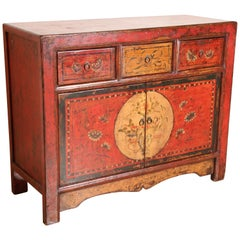 Tibetan Dowry Hand Painted Cabinet