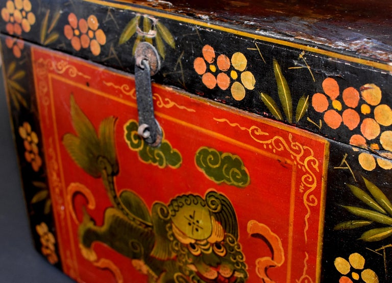 Tibetan Foo Dog Box Hand Painted Box 5 For Sale 6